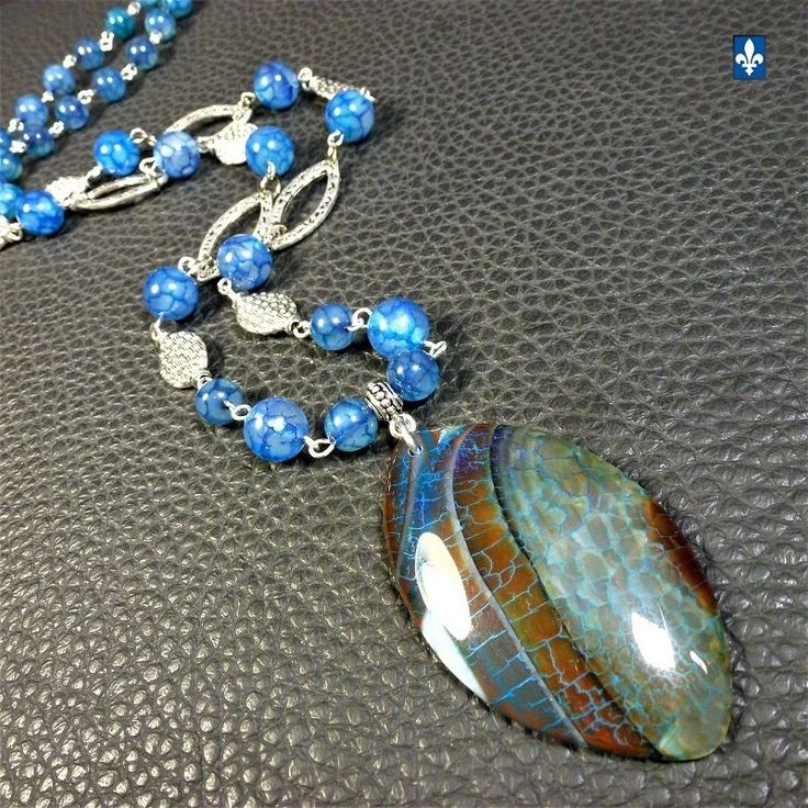 ♥ Stunning Ocean Blue Veined Agate & Plated Silver Pendant & Necklace