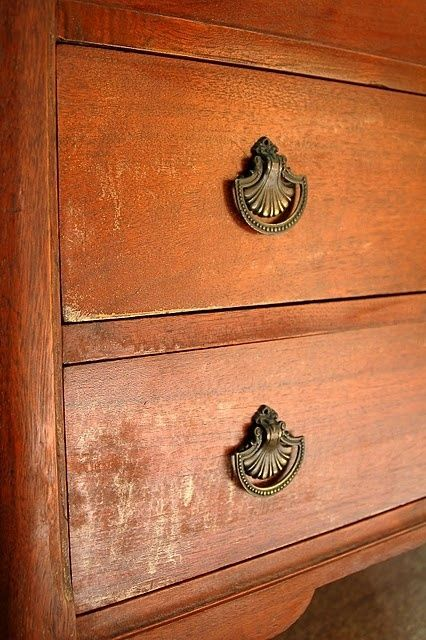 using 3/4 cup of oil & 1/4 cup vinegar to restore wood on old furniture without having to strip the pieces by samanthasam