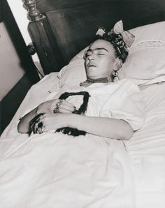 Frida Kahlo after passing. Age 47. Officially documented that she died from a pulmonary embolism but she'd written of death in her diary a few days before and some believe she died from a painkiller overdose, either accidental or intentional.