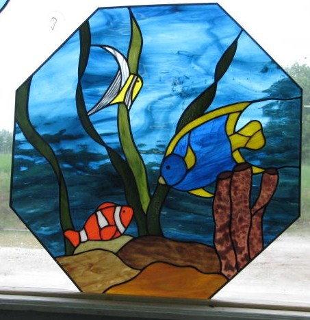17 best images about aquatic on pinterest tropical fish for Stained glass fish
