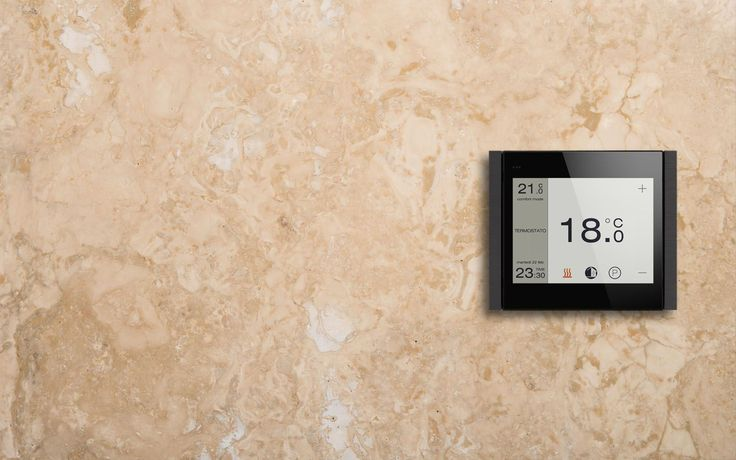 #thermostat The high resolution touch-display and the versatile and intuitive interface are thought to provide highest user comfort and uncompromising aesthetics. The transition from one function to the next one is via side-scrolling pages, from those you can access several submenus. You can also set the display brightness according to your own needs or it can be automatically adjusted according to the brightness.
