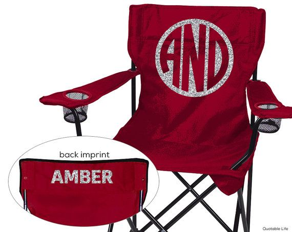 Deluxe Beach, Camping, Sports, Folding Chair // Monogram // Solid or Glitter Vinyl on Etsy, $38.00