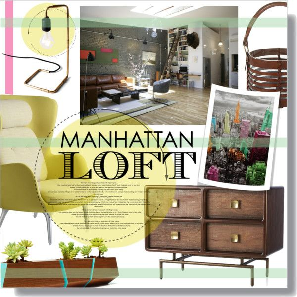 Village Loft by clovers-mind on Polyvore featuring interior, interiors, interior design, home, home decor, interior decorating, Fritz Hansen, Crate and Barrel, Flamant and iloveNY