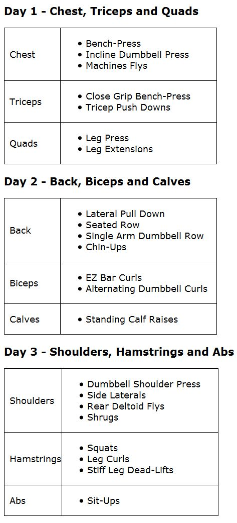 Better Pic of 3 day split. Add it in with everyday cardio and yoga between the weight days.