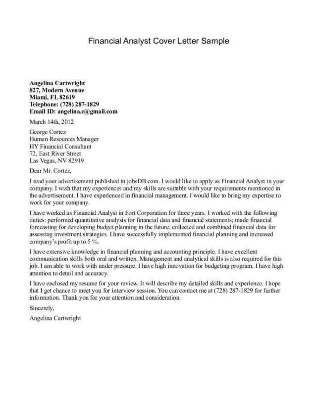 26 Financial Analyst Cover Letter Sle The News To Go 2