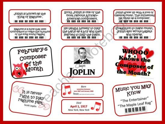 Scott Joplin Composer of the Month (February) Bulletin Board and more from The Bulletin Board Lady on TeachersNotebook.com -  (13 pages)  - Scott Joplins's Composer of the Month Kit includes the bulletin board pieces pictured above: composer picture and full name, birth and death date, 6 facts about the composer, a quote by the composer, a short list of popular songs students may know an