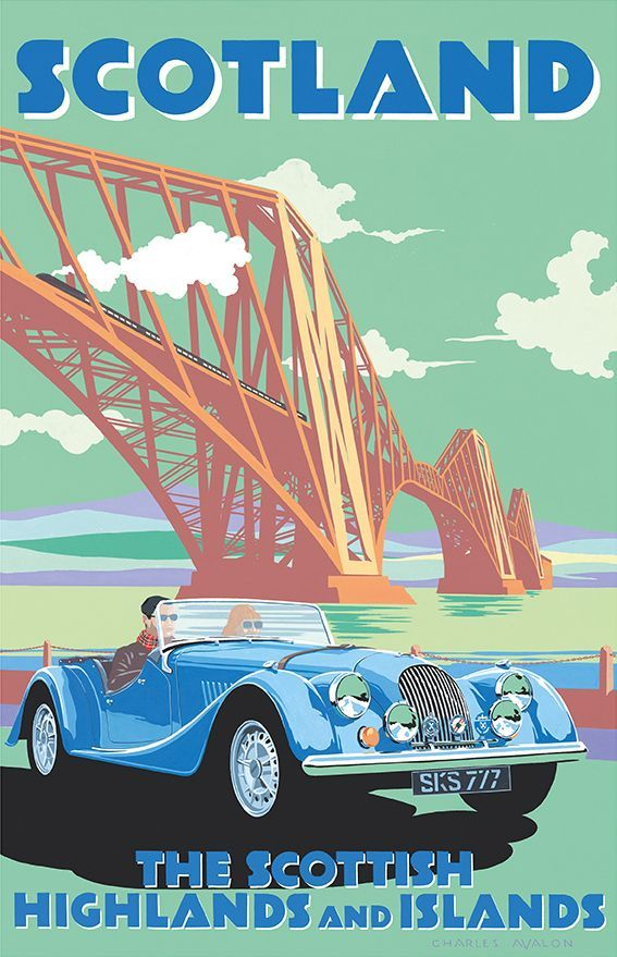 Charles Avalon applies a retro feel to his contemporary posters. This modern Morgan looks comfortable against Scotland's Forth Rail Bridge and its steam train that could be straight out of John Buchan's 39 Steps.