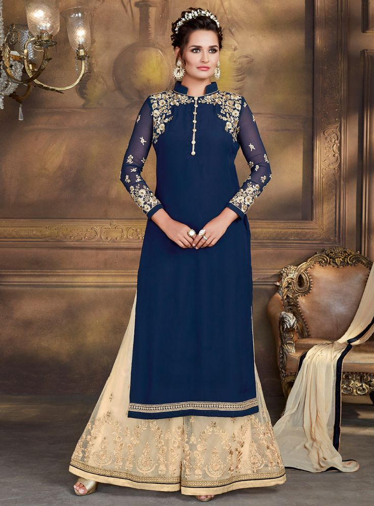 Navy Blue Georgette Palazzo Style Salwar Suit 106345