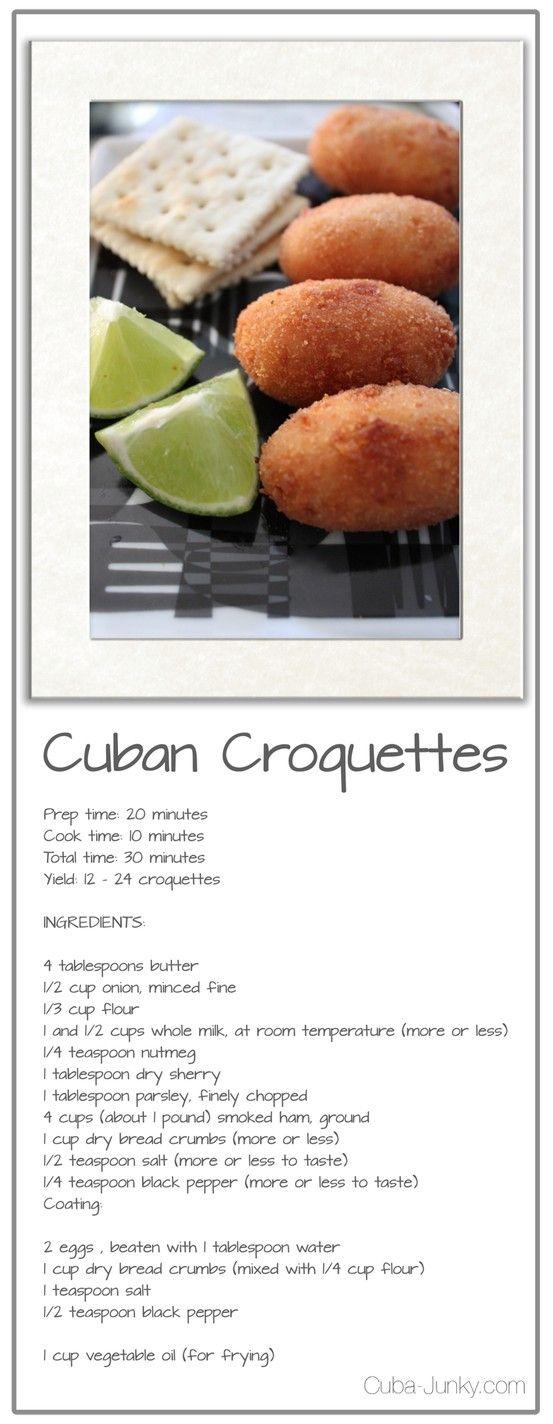 Recipe Cuban Croquettes http://www.cuba-junky.com/cuba/cuisine.html
