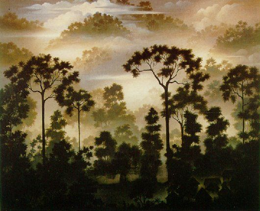 "Painting by Walter Spies - ""Sumatran Landscape"" (1941)"