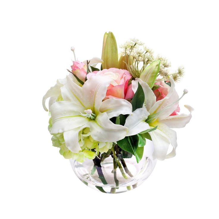 "Silk White Lily, Rose, and Hydrangea Bouquet - 12"" Tall"