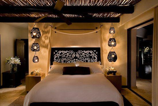 Villa at Cabo Azul, Mexico. Illuminated headboard and lanterns