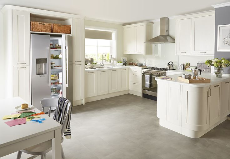 Soft curves and light coloured cabinets create the illusion of light and space. Want more Kitchen Ideas and inspiration? Check out our other Kitchen Boards here or pop on over to www.diy.com/kitchens.
