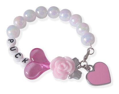 Twinkelbell Kindersieraden, Bubbles armbandje met witte kralen, roze hartje en naam.
