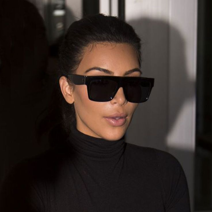 Luxury Brand Designer Kim Kardashian Flat Top Sunglasses For Women Fashion Brand Designer Female Big Sun Glasses UV400