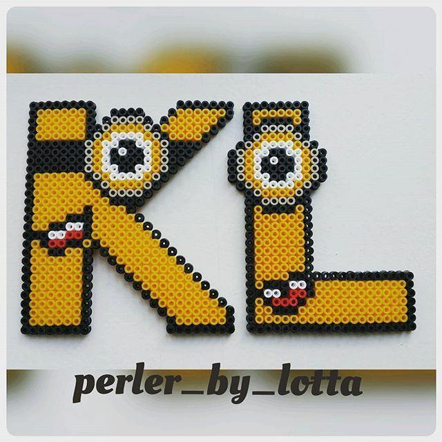 K-L Minion alphabet hama beads by perler_by_lotta
