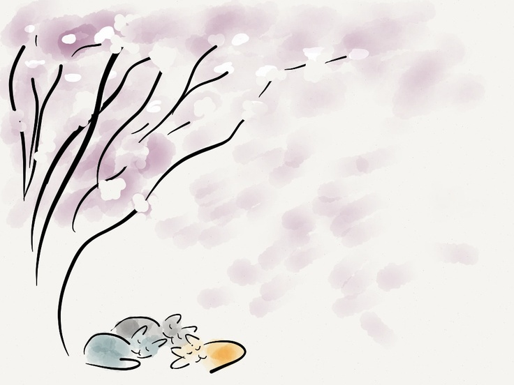 The first three cats we had, under our blossom tree #madewithpaper