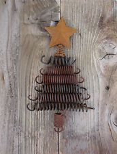 Antique Primitive Rusty Bed Springs Christmas Tree Decor Kit Including Supplies