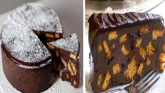 Nejlepší na tomhle lahodném čokoládovém dortu je to, že Vám jeho příprava nezabere příliš mnoho času a zároveň Vám stačí jen 5 ingrediencí.Pokud si vyberete kvalitní čokoládu bude tenhle dort chutnat naprosto fantasticky! Uvidíte, že tenhle recept se jistě stane Vaším oblíbeným a budete ho připravovatpravidelně! Ingredience -400 g sušenek – 450g másla – 900g