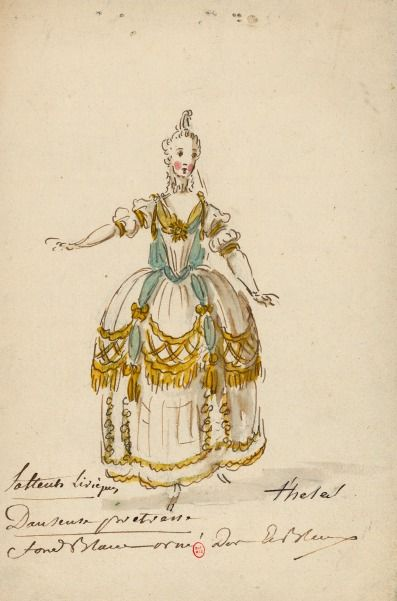 Costume d'une danseuse-prétresse dans l'opéra-ballet pour les Fêtes d'Hébé de Rameau  Dessins et croquis de costumes pour les opéras représentés à Paris et à Versailles de 1739 à 1767  Louis-René Boquet (1717-1814).  BnF, Manuscrits, Rothschild 1462 (1519-3-12), n° 8