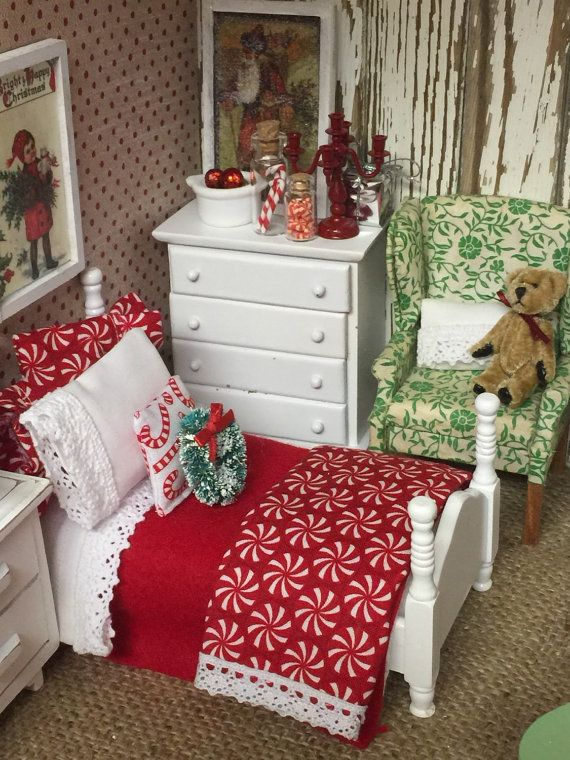 Miniature Candy Cane Christmas Bedding and by RibbonwoodCottage