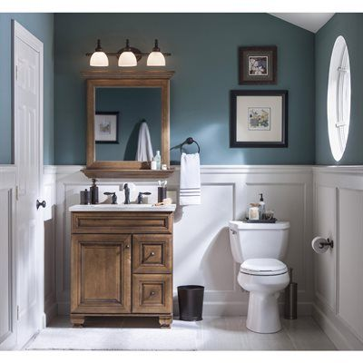 allen + roth 20J VSDB30 Ballantyne 30-in x 21-in Mocha with Ebony Glaze Traditional Bathroom Vanity