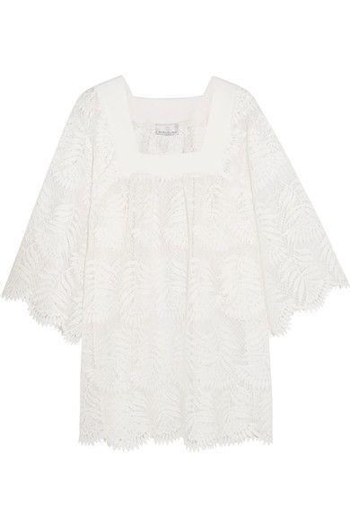 Miguelina - Belen Scalloped Silk-lace Mini Dress - White -
