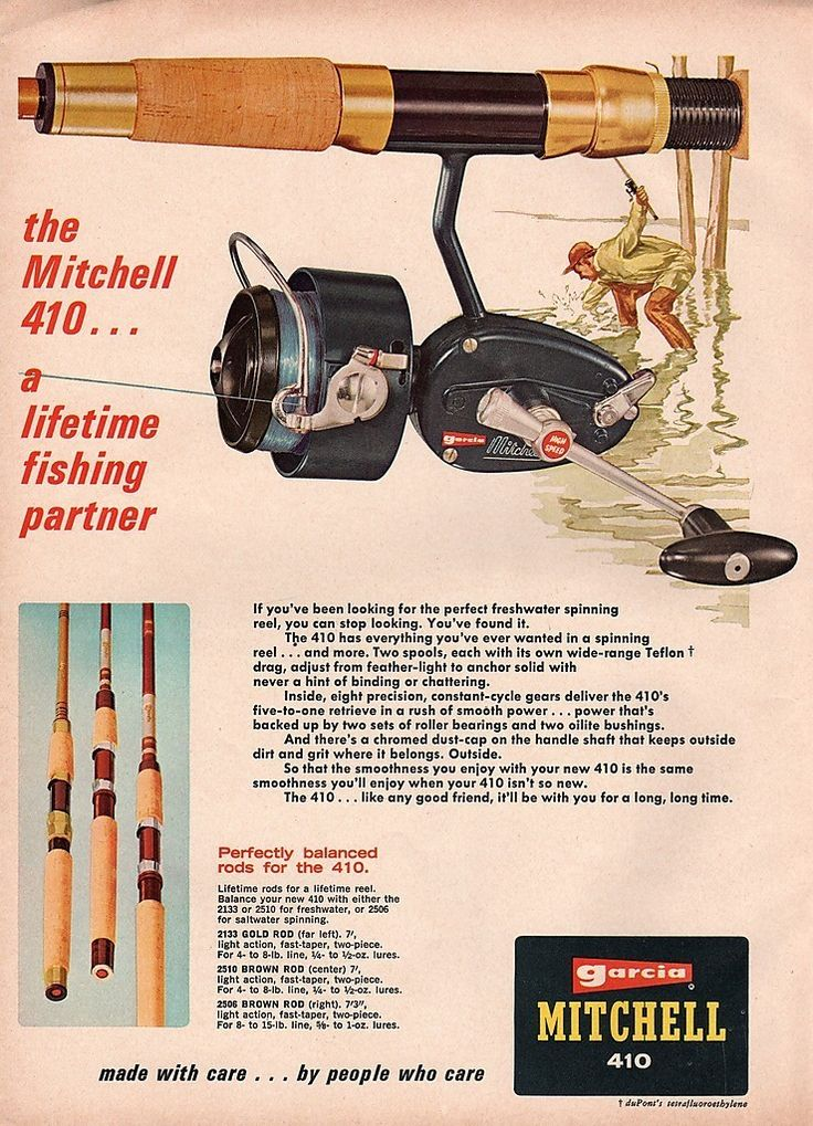 1968 Garcia Mitchell fishing reel ad....and I am THRILLED BEYOND BELIEF that my husband found me one yesterday! The actual rod & reel (not the ad)...summertime fishing adventures, here we come :D