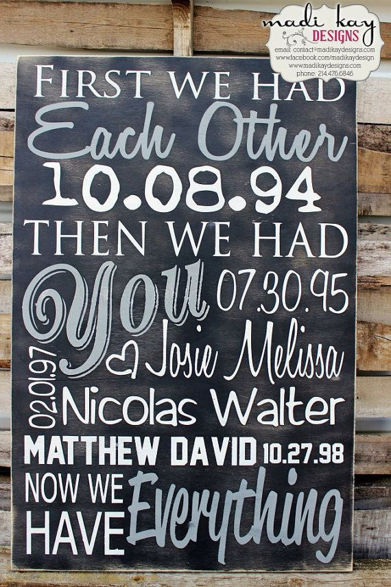 Personalized Family Name Sign on Wood or Canvas, First We had Each Other Sign that includes Marriage Dates, Childrens Birth Dates