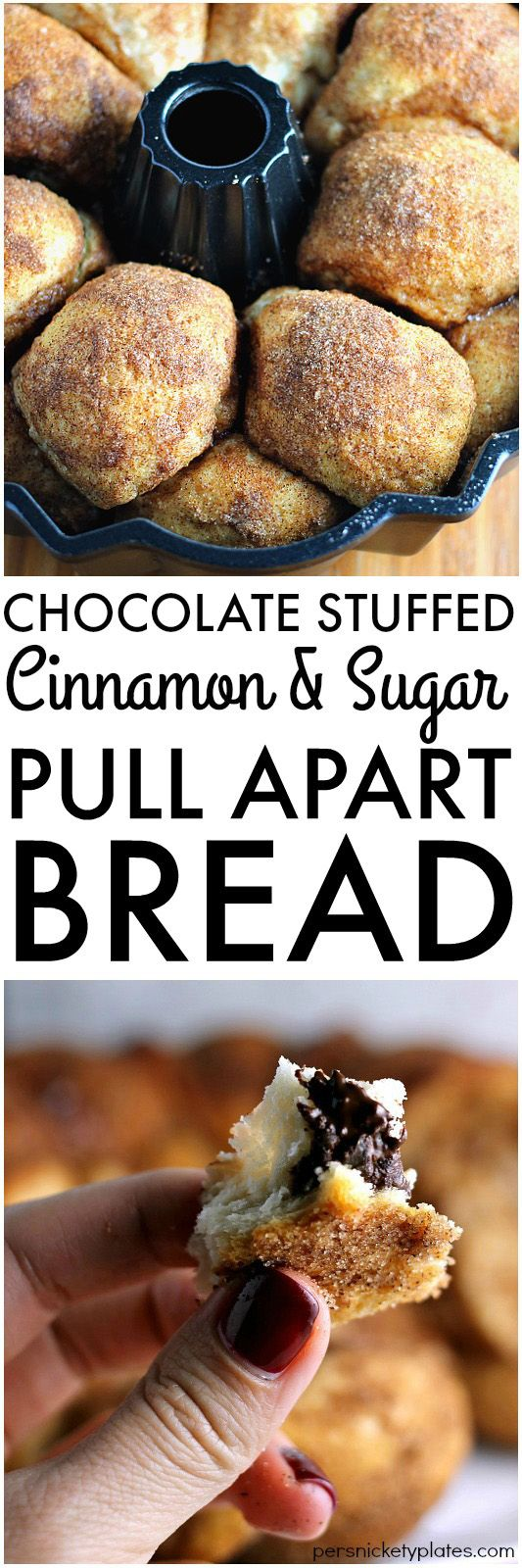 Chocolate Stuffed Cinnamon & Sugar Pull-Apart Bread - a long title for a simple & delicious recipe that only takes 5 ingredients and about 30 minutes to put together. | Persnickety Plates AD #WarmTraditions:
