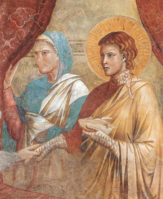 Master of the Isaac Stories. Scenes from the Old Testament: Isaac Blessing Jacob (detail) 1295. Upper Church, Basilika San Francesco, Assisi, Italy  Painting, Fresco