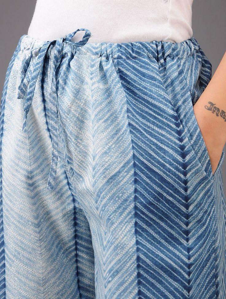 @johnhlittle   Indigo-White Zig-Zag Shibori-Dyed Cotton Pants Online at Jaypore.com