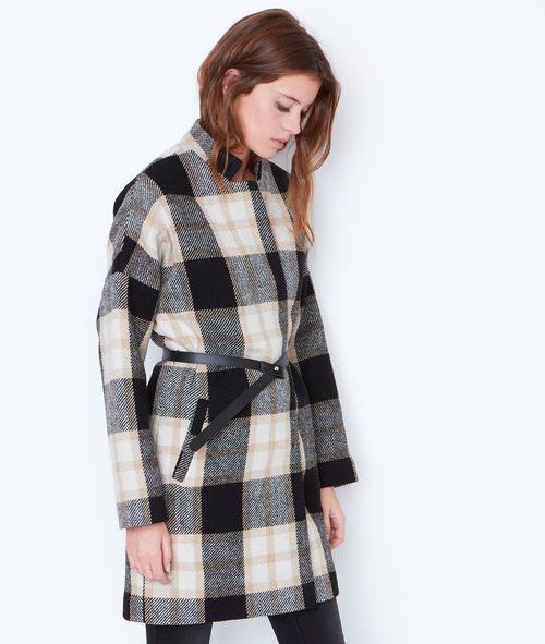 Manteau en laine imprimé grands carreaux pour la mode femme. En soldes sur la boutique ETAM sur LE GRAND CATALOGUE