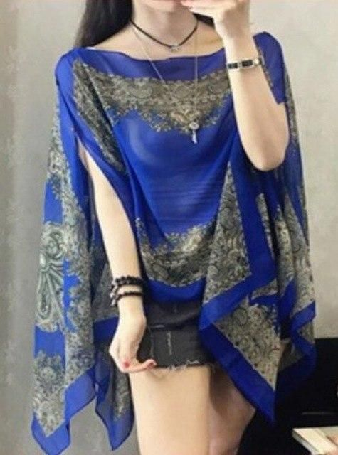 Visnxgi 2019 Summer Print Silk Scarf Oversized Chiffon Scarf Women Pareo Beach Cover Up Wrap Sarong Sunscreen Long Cape Blue J14