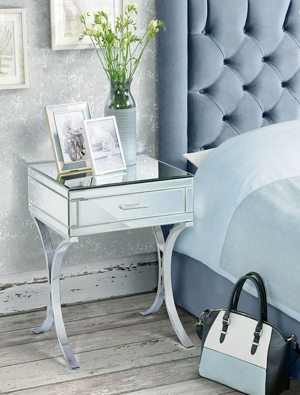 Elegant and stylish this AURELIA Barcelona style Mirrored and chrome dressing bedside table will make any room feel lighter and brighter. This timeless classic bedside table is beautifully finished in high quality bevelled mirror and set up-on solid steel chrome plated legs that simply looks stunning! | eBay!