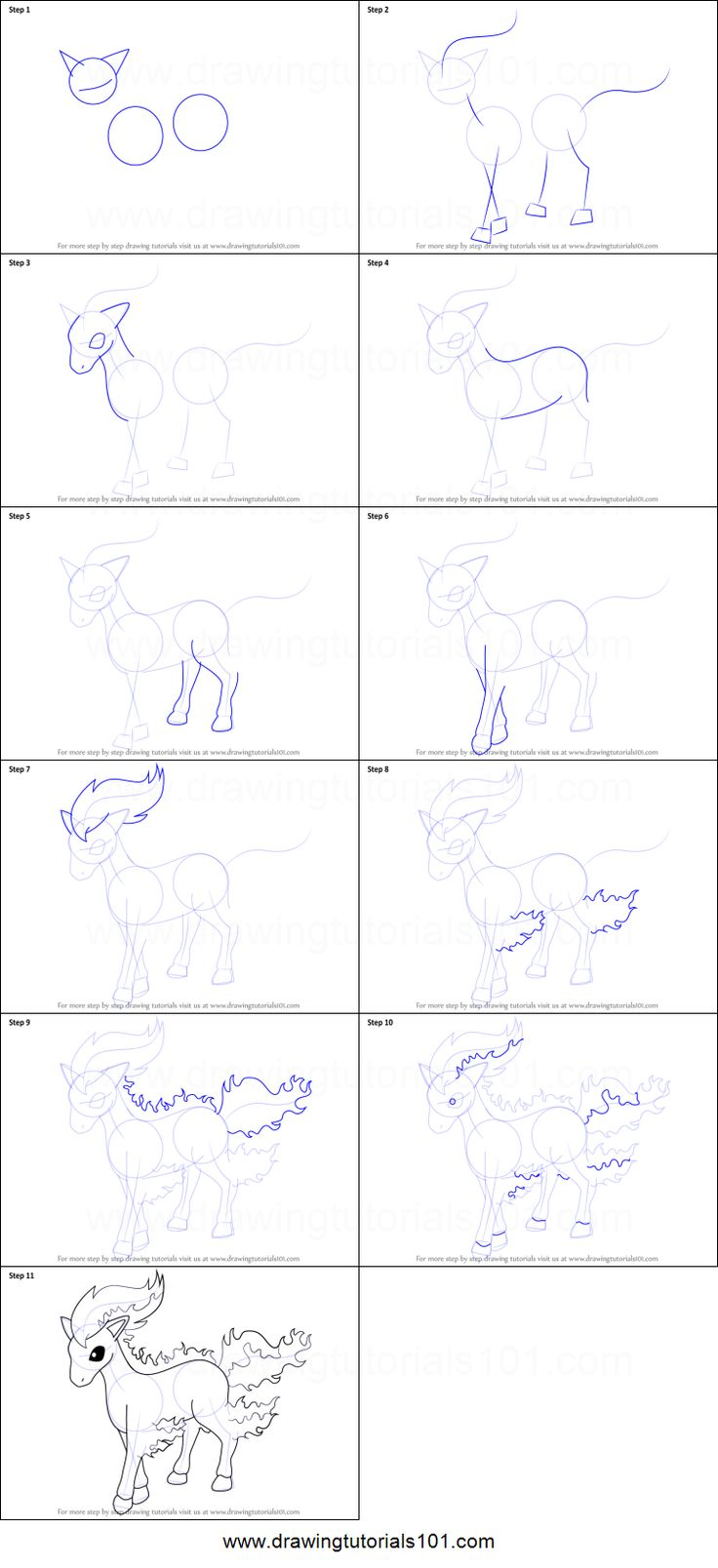 How to Draw Ponyta from Pokemon Printable Drawing Sheet by DrawingTutorials101.com