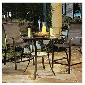 Urban Collection High Dining Sling Aluminum Patio Set, LED Lighted  Glass Top Table