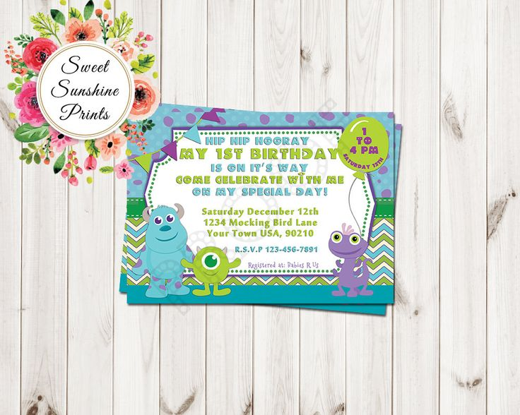 Monsters Inc Birthday Party Invitation - Mike -Sully - Boo - Boy by SweetSunshinePrints on Etsy https://www.etsy.com/listing/247539445/monsters-inc-birthday-party-invitation