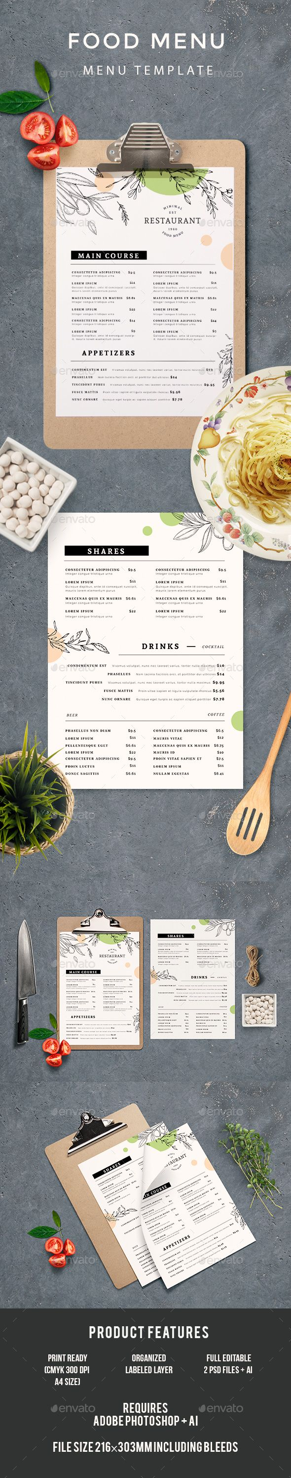 Food Menu - #Food #Menus Print Templates Download here: https://graphicriver.net/item/food-menu/20032519?ref=alena994