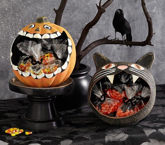 Black Cat & Pumpkin Paper Mache Treat Vessels | Pottery Barn Kids - could make around balloons with paper mache and then pumpkins wouldn't rot!
