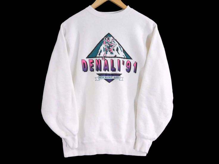 Vtg Denali 1991 Crewneck Sweatshirt - Small Mens - Medium Womens - Mountain Climbing - Hiking - Mount McKinley Vintage Clothing - 90s by BLACKMAGIKA on Etsy