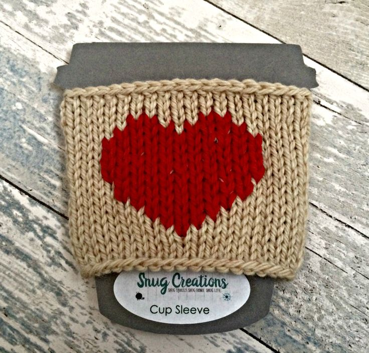Hand knitted cup cosy -  Heart Coffee Sleeve, Red Heart Knit Cup Warmer, Coffee Cup Cosy, Custom Colours, Gift for her, Eco Friendly Gifts by SnugCreations on Etsy