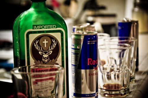 Jager-Bombs  Mix to your discretion one part Jagermeister and one part red bull then kiss your butt goodbye!