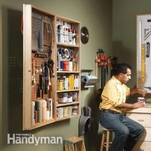 This spacious cabinet efficiently organizes and stores all your painting clutter or other tools and hobby supplies. It's easy to build in just two hours.