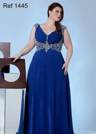 Resultado de imagem para vestdos de festa azul plus size