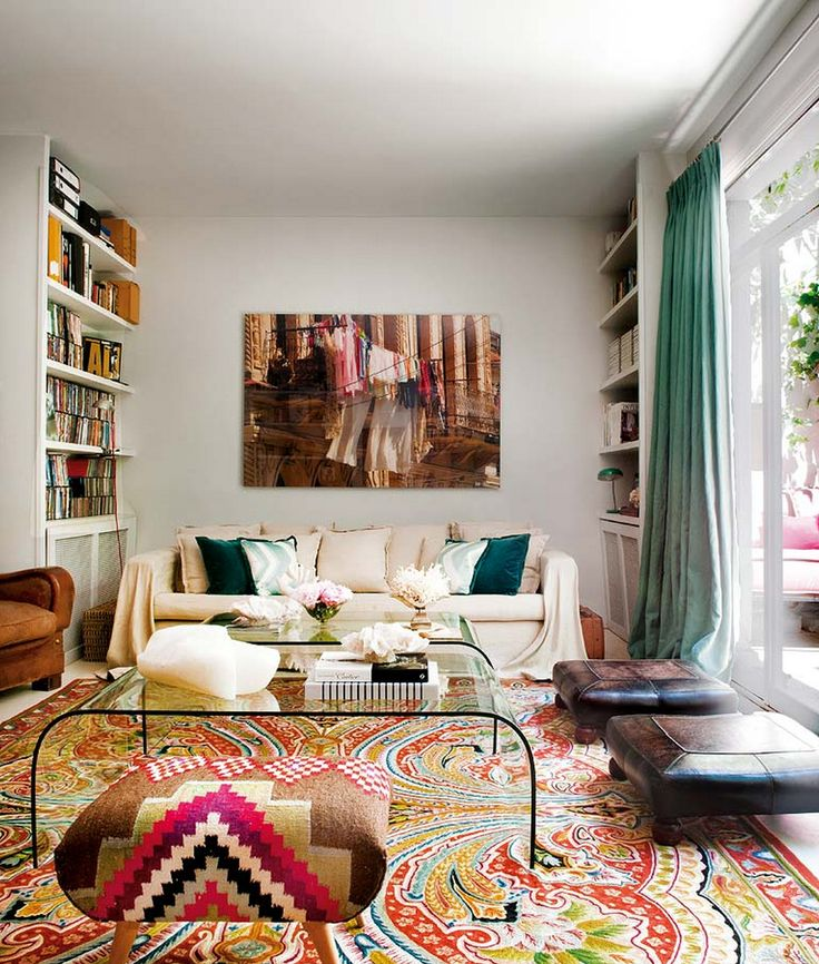 Try keeping colors simple for balance in a white room // Living Rooms: Decor, Interior, Living Rooms, Pattern, Floor, Dream, Carpet, House