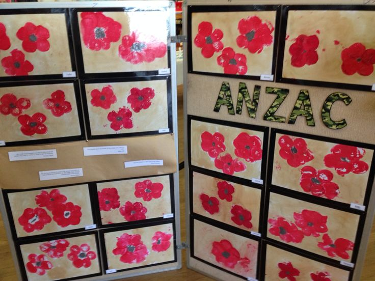 ANZAC day art with potato print poppies and camouflage paper letters