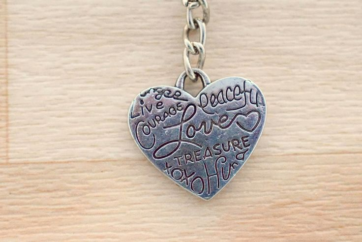 Silver Heart Keyring - Love Keychain - Engraved Keychain - Inspirational Charms - Key Ring Holder - Keychain For Her by SkadiJewelry on Etsy