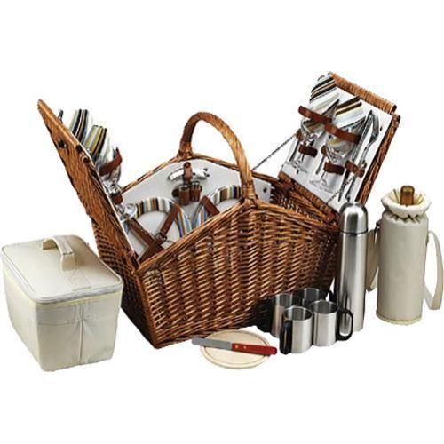 The Huntsman Picnic Basket has a traditional style. Hand crafted using full reed willow, this generously sized basket is made to last. Easy to pack, carry, and enjoy, it includes quality components including ceramic plates and glass