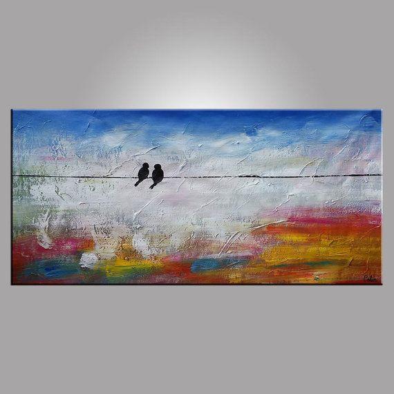 Groot schilderij olieverf liefde vogels schilderij door Topart007